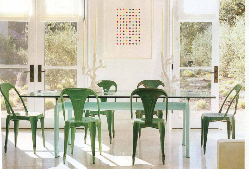 rustic-modern-green-dining-chairs-January-2013-Color-of-the-Month-Emerald-Green-Pantone-Inspired-Color-Design-Decor-Trends-and-Ideas