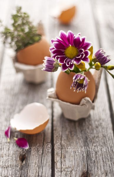 Homemade Easter decoration with egg shell